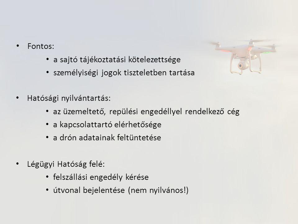 Hatósági nyilvántartás: az üzemeltető, repülési engedéllyel rendelkező cég a kapcsolattartó elérhetősége a drón adatainak feltüntetése Légügyi Hatóság felé: felszállási engedély kérése útvonal bejelentése (nem nyilvános!) Fontos: a sajtó tájékoztatási kötelezettsége személyiségi jogok tiszteletben tartása