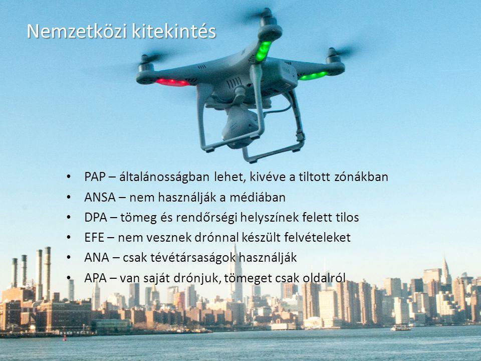 Nemzetközi kitekintés PAP – általánosságban lehet, kivéve a tiltott zónákban ANSA – nem használják a médiában DPA – tömeg és rendőrségi helyszínek felett tilos EFE – nem vesznek drónnal készült felvételeket ANA – csak tévétársaságok használják APA – van saját drónjuk, tömeget csak oldalról