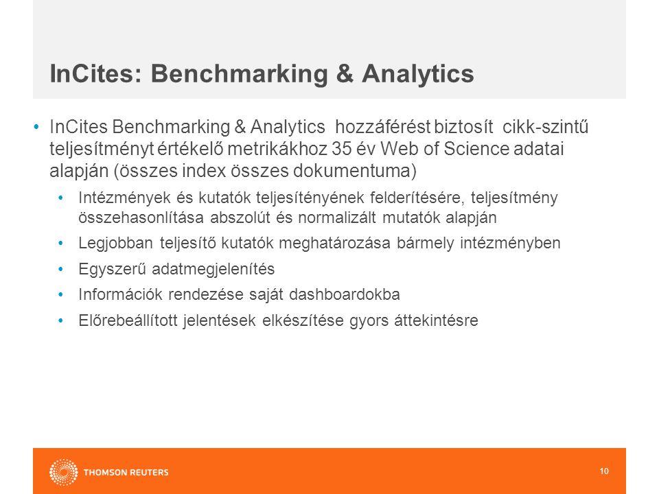 InCites Benchmarking & Analytics hozzáférést biztosít cikk-szintű teljesítményt értékelő metrikákhoz 35 év Web of Science adatai alapján (összes index összes dokumentuma) Intézmények és kutatók teljesítényének felderítésére, teljesítmény összehasonlítása abszolút és normalizált mutatók alapján Legjobban teljesítő kutatók meghatározása bármely intézményben Egyszerű adatmegjelenítés Információk rendezése saját dashboardokba Előrebeállított jelentések elkészítése gyors áttekintésre 10 InCites: Benchmarking & Analytics
