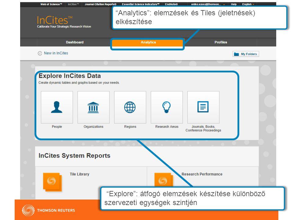 Analytics : elemzések és Tiles (jeletnések) elkészítése Explore : átfogó elemzések készítése különböző szervezeti egységek szintjén