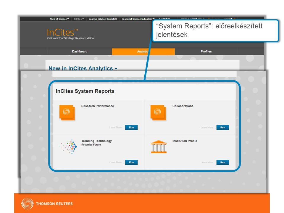 System Reports : előreelkészített jelentések