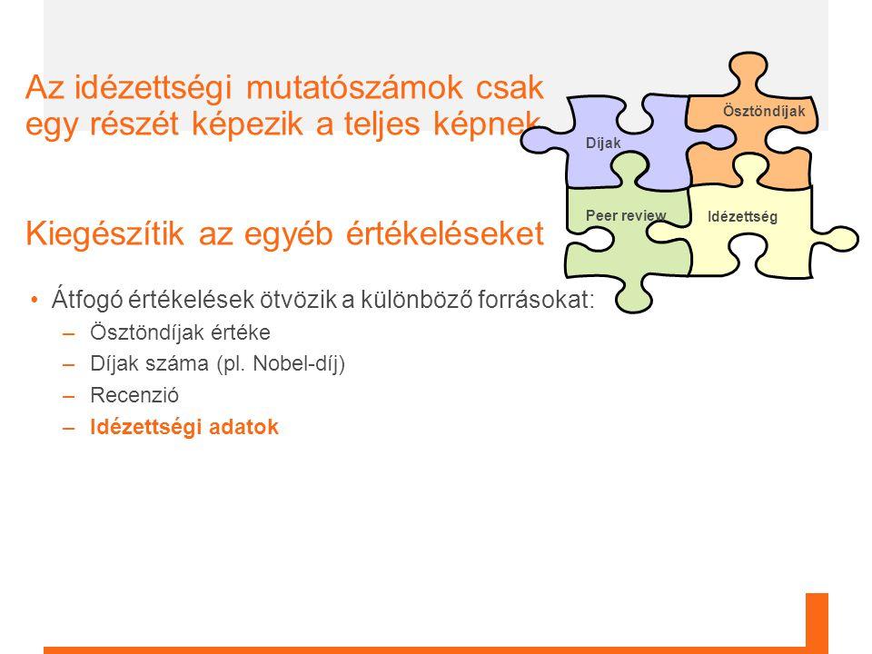 6 Átfogó értékelések ötvözik a különböző forrásokat: –Ösztöndíjak értéke –Díjak száma (pl.