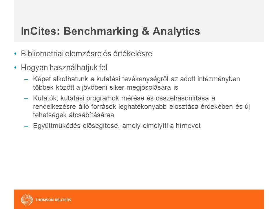 InCites: Benchmarking & Analytics Bibliometriai elemzésre és értékelésre Hogyan használhatjuk fel –Képet alkothatunk a kutatási tevékenységről az adott intézményben többek között a jövőbeni siker megjósolására is –Kutatók, kutatási programok mérése és összehasonlítása a rendelkezésre álló források leghatékonyabb elosztása érdekében és új tehetségek átcsábításáraa –Együttműködés elősegítése, amely elmélyíti a hírnevet