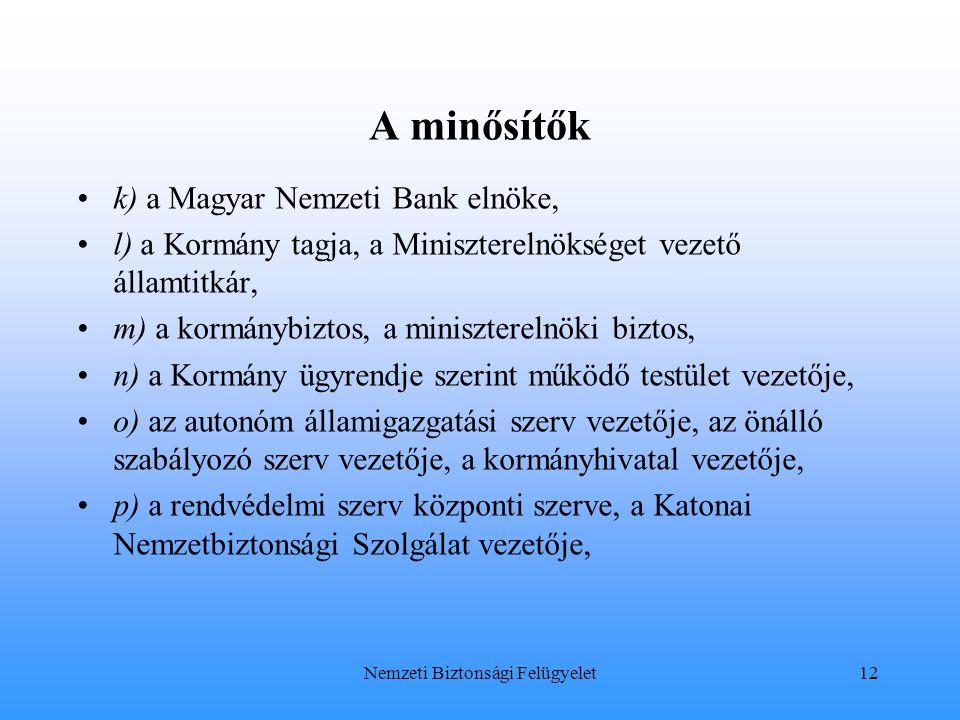 A minősítők k) a Magyar Nemzeti Bank elnöke, l) a Kormány tagja, a Miniszterelnökséget vezető államtitkár, m) a kormánybiztos, a miniszterelnöki bizto