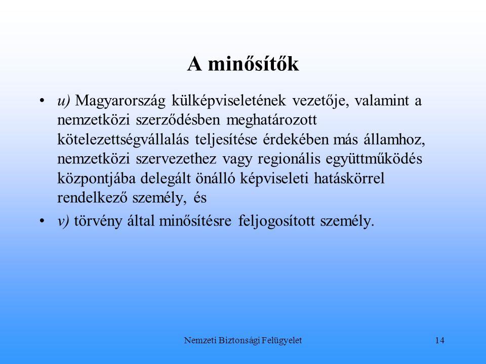 A minősítők u) Magyarország külképviseletének vezetője, valamint a nemzetközi szerződésben meghatározott kötelezettségvállalás teljesítése érdekében m