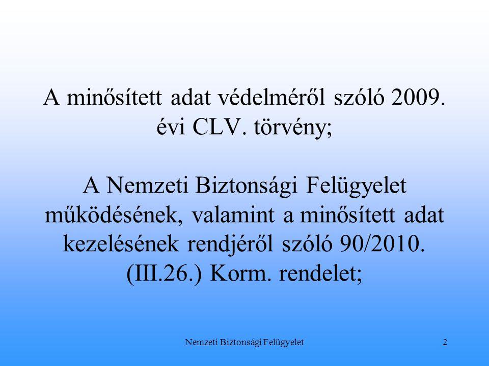 A minősített adat védelméről szóló 2009. évi CLV. törvény; A Nemzeti Biztonsági Felügyelet működésének, valamint a minősített adat kezelésének rendjér