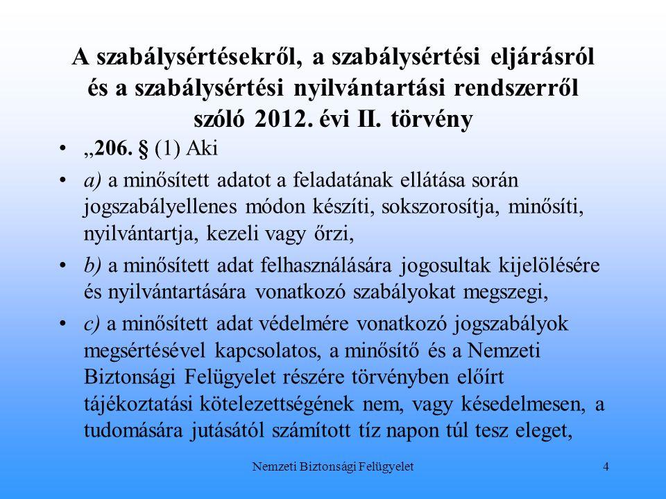 """A szabálysértésekről, a szabálysértési eljárásról és a szabálysértési nyilvántartási rendszerről szóló 2012. évi II. törvény """"206. § (1) Aki a) a minő"""