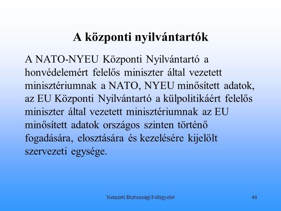 A központi nyilvántartók A NATO-NYEU Központi Nyilvántartó a honvédelemért felelős miniszter által vezetett minisztériumnak a NATO, NYEU minősített ad