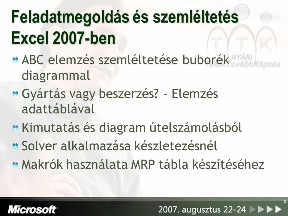 2 Feladatmegoldás és szemléltetés Excel 2007-ben ABC elemzés szemléltetése buborék diagrammal Gyártás vagy beszerzés? – Elemzés adattáblával Kimutatás