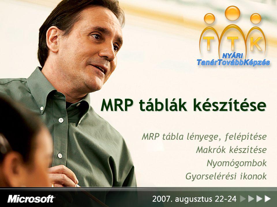 MRP táblák készítése MRP tábla lényege, felépítése Makrók készítése Nyomógombok Gyorselérési ikonok