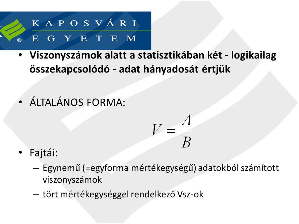 VISZONYSZÁMOK Egynemű adatokból számított Különnemű adatokból számított Megoszlási Teljesítmény Összehasonlító (V m ) (V telj.