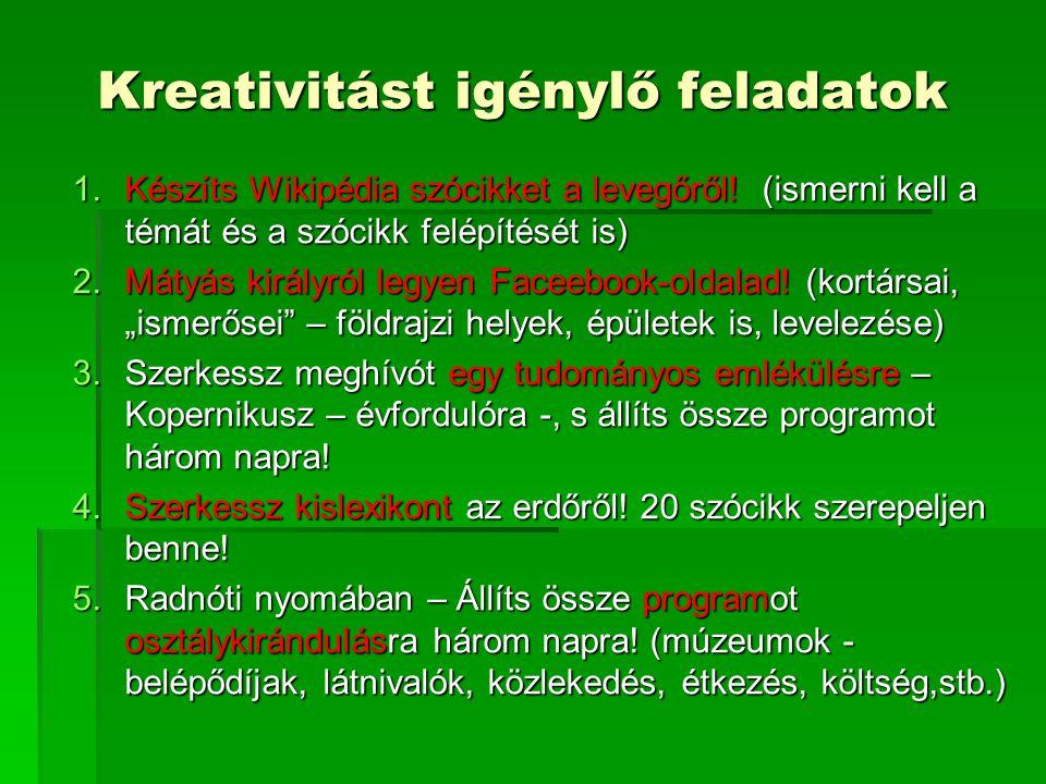 Kreativitást igénylő feladatok 1.Készíts Wikipédia szócikket a levegőről.