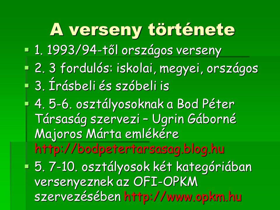 A verseny története  1.1993/94-től országos verseny  2.