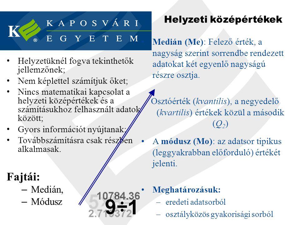 Helyzeti középértékek - Módusz 1.Az adatsor tipikus (leggyakrabban előforduló) értékét jelenti.