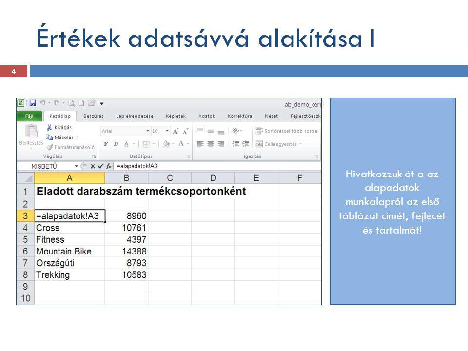 Értékek adatsávvá alakítása I Hivatkozzuk át a az alapadatok munkalapról az első táblázat címét, fejlécét és tartalmát! 4
