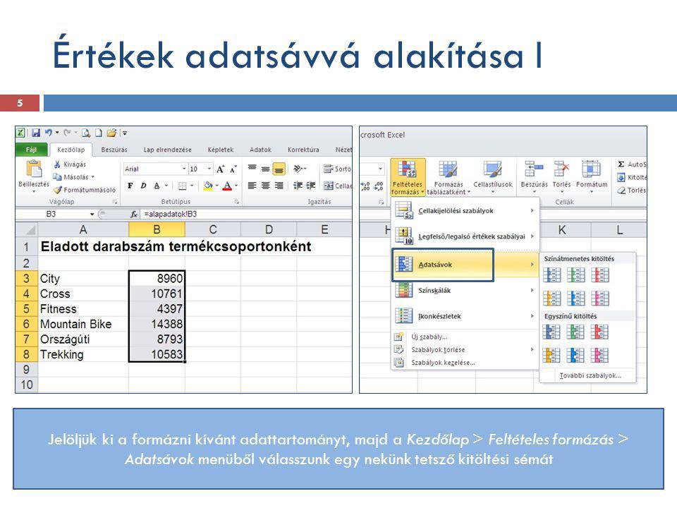 Értékek adatsávvá alakítása I Jelöljük ki a formázni kívánt adattartományt, majd a Kezdőlap > Feltételes formázás > Adatsávok menüből válasszunk egy n
