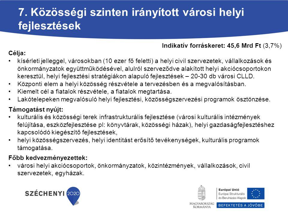 Indikatív forráskeret: 45,6 Mrd Ft (3,7%) Célja: kísérleti jelleggel, városokban (10 ezer fő feletti) a helyi civil szervezetek, vállalkozások és önkormányzatok együttműködésével, alulról szerveződve alakított helyi akciócsoportokon keresztül, helyi fejlesztési stratégiákon alapuló fejlesztések – 20-30 db városi CLLD.
