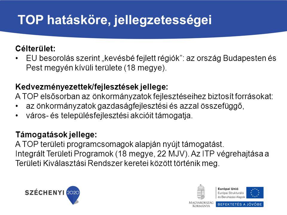 """Célterület: EU besorolás szerint """"kevésbé fejlett régiók : az ország Budapesten és Pest megyén kívüli területe (18 megye)."""