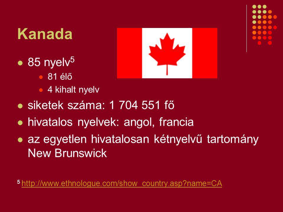 Kanada 85 nyelv 5 81 élő 4 kihalt nyelv siketek száma: 1 704 551 fő hivatalos nyelvek: angol, francia az egyetlen hivatalosan kétnyelvű tartomány New Brunswick 5 http://www.ethnologue.com/show_country.asp?name=CA http://www.ethnologue.com/show_country.asp?name=CA