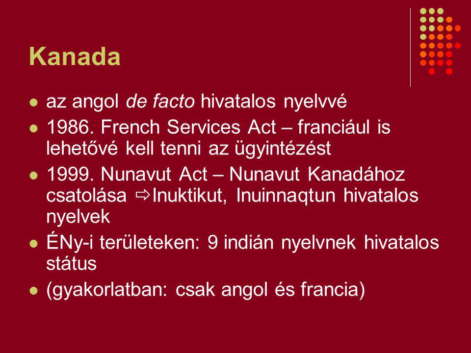 Kanada az angol de facto hivatalos nyelvvé 1986.