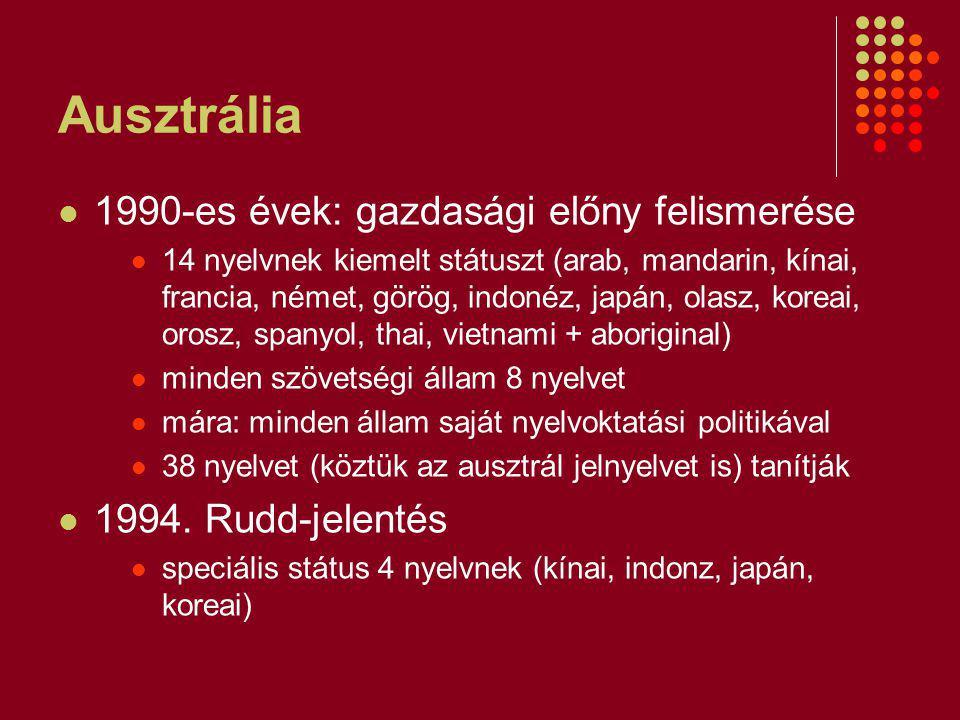 Ausztrália 1990-es évek: gazdasági előny felismerése 14 nyelvnek kiemelt státuszt (arab, mandarin, kínai, francia, német, görög, indonéz, japán, olasz, koreai, orosz, spanyol, thai, vietnami + aboriginal) minden szövetségi állam 8 nyelvet mára: minden állam saját nyelvoktatási politikával 38 nyelvet (köztük az ausztrál jelnyelvet is) tanítják 1994.