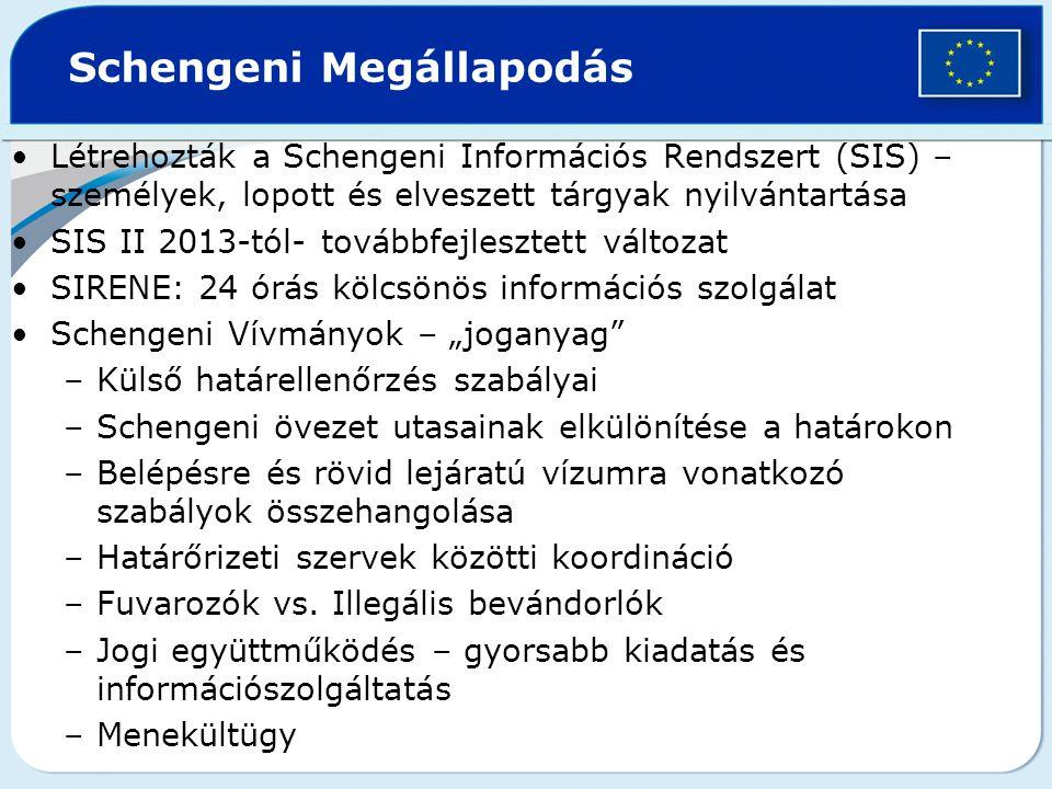 """Létrehozták a Schengeni Információs Rendszert (SIS) – személyek, lopott és elveszett tárgyak nyilvántartása SIS II 2013-tól- továbbfejlesztett változat SIRENE: 24 órás kölcsönös információs szolgálat Schengeni Vívmányok – """"joganyag –Külső határellenőrzés szabályai –Schengeni övezet utasainak elkülönítése a határokon –Belépésre és rövid lejáratú vízumra vonatkozó szabályok összehangolása –Határőrizeti szervek közötti koordináció –Fuvarozók vs."""