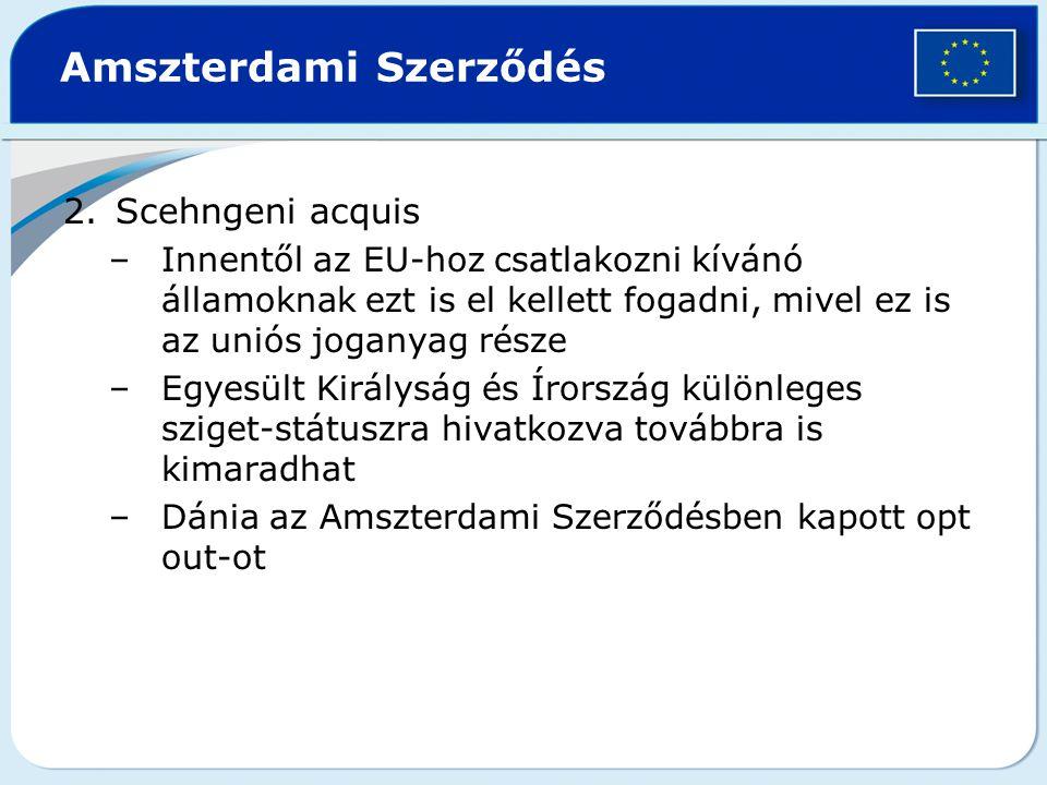 Amszterdami Szerződés 2.Scehngeni acquis –Innentől az EU-hoz csatlakozni kívánó államoknak ezt is el kellett fogadni, mivel ez is az uniós joganyag ré