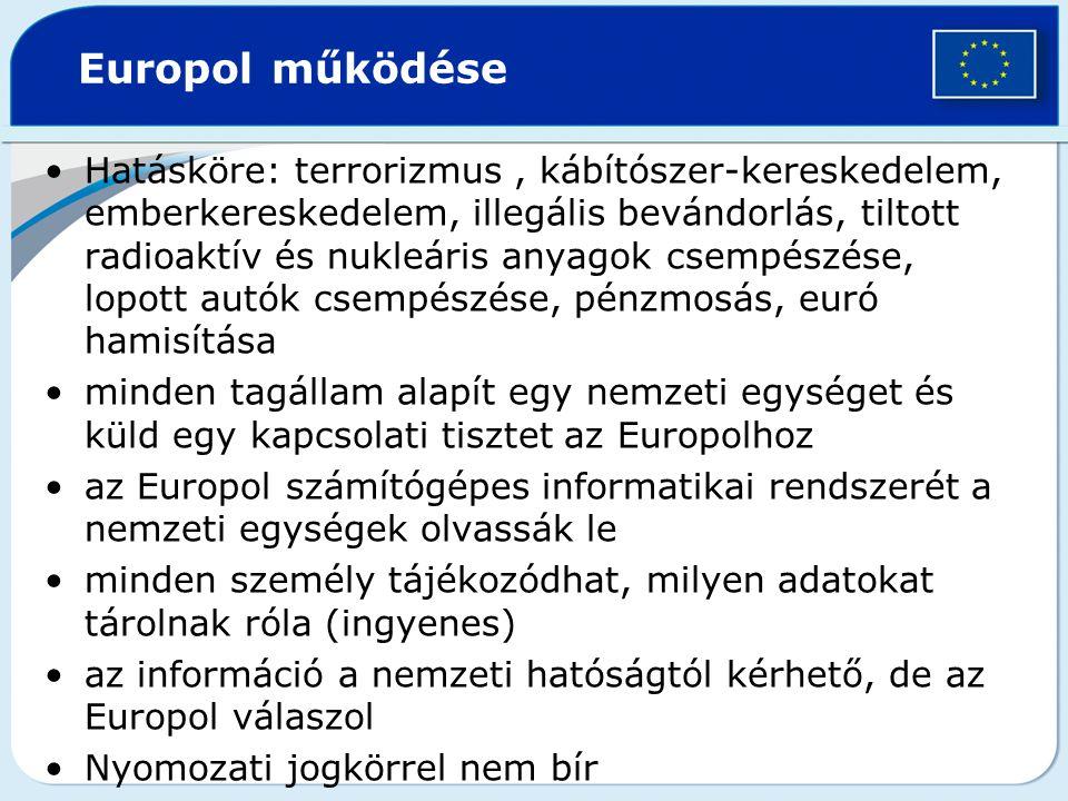 Europol működése Hatásköre: terrorizmus, kábítószer-kereskedelem, emberkereskedelem, illegális bevándorlás, tiltott radioaktív és nukleáris anyagok csempészése, lopott autók csempészése, pénzmosás, euró hamisítása minden tagállam alapít egy nemzeti egységet és küld egy kapcsolati tisztet az Europolhoz az Europol számítógépes informatikai rendszerét a nemzeti egységek olvassák le minden személy tájékozódhat, milyen adatokat tárolnak róla (ingyenes) az információ a nemzeti hatóságtól kérhető, de az Europol válaszol Nyomozati jogkörrel nem bír