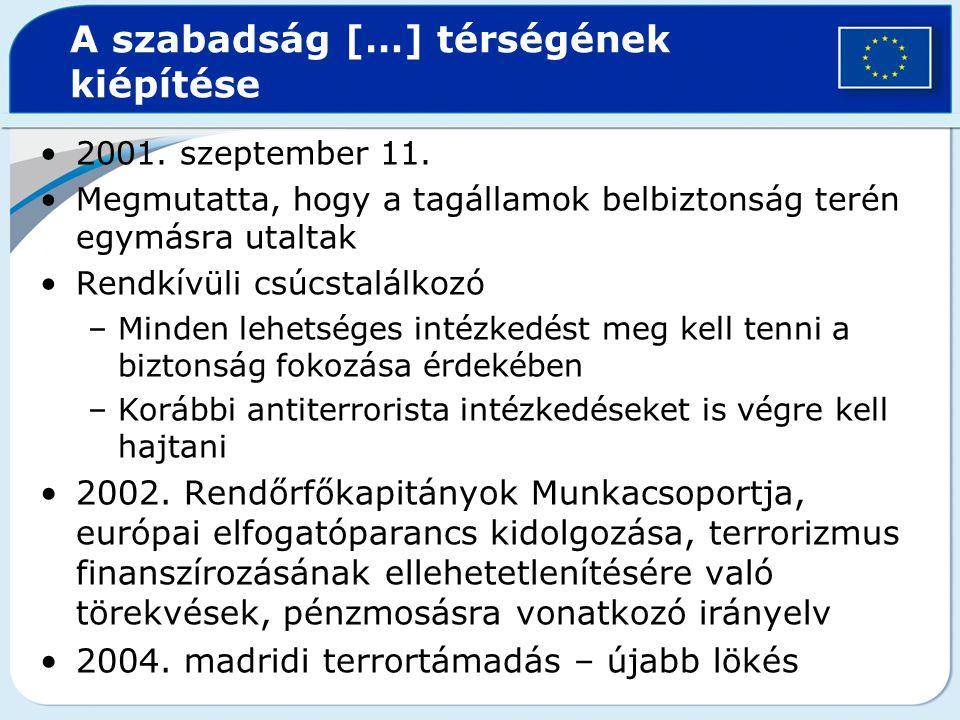 A szabadság […] térségének kiépítése 2001. szeptember 11. Megmutatta, hogy a tagállamok belbiztonság terén egymásra utaltak Rendkívüli csúcstalálkozó