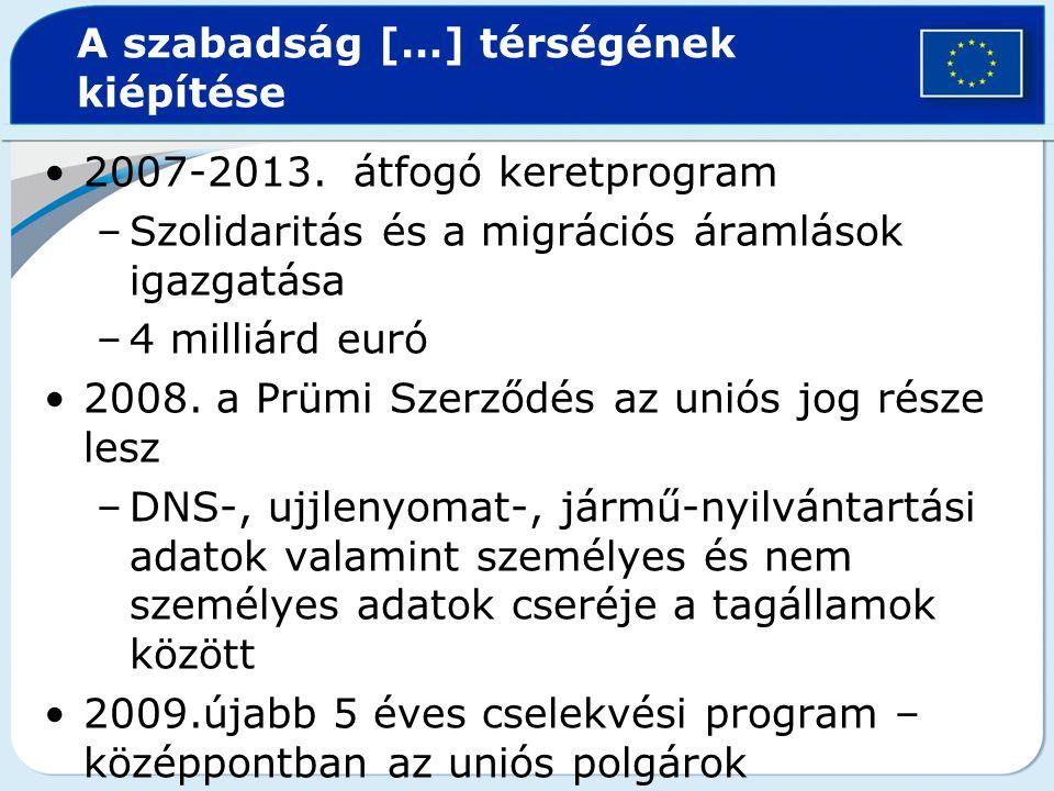A szabadság […] térségének kiépítése 2007-2013. átfogó keretprogram –Szolidaritás és a migrációs áramlások igazgatása –4 milliárd euró 2008. a Prümi S