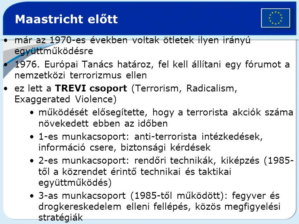 Maastricht előtt már az 1970-es években voltak ötletek ilyen irányú együttműködésre 1976. Európai Tanács határoz, fel kell állítani egy fórumot a nemz