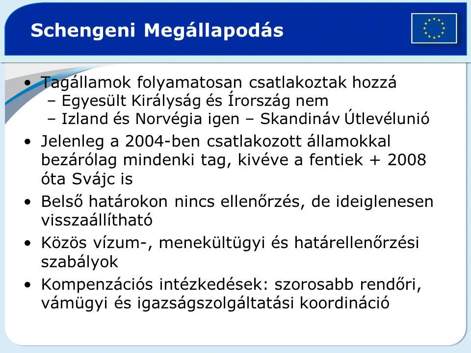 Tagállamok folyamatosan csatlakoztak hozzá –Egyesült Királyság és Írország nem –Izland és Norvégia igen – Skandináv Útlevélunió Jelenleg a 2004-ben cs