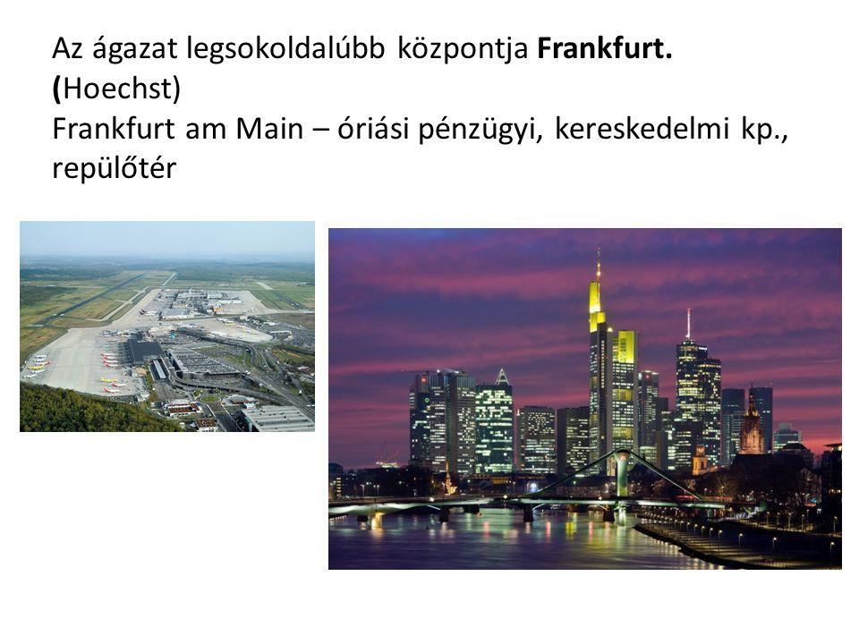 Az ágazat legsokoldalúbb központja Frankfurt. (Hoechst) Frankfurt am Main – óriási pénzügyi, kereskedelmi kp., repülőtér
