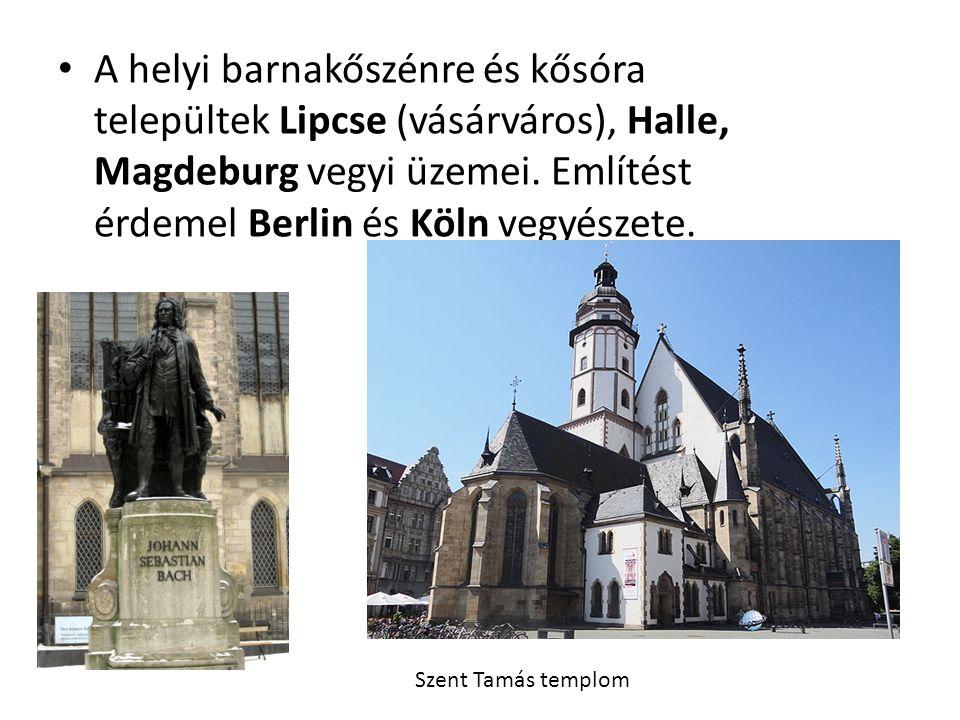 A helyi barnakőszénre és kősóra települtek Lipcse (vásárváros), Halle, Magdeburg vegyi üzemei. Említést érdemel Berlin és Köln vegyészete. Szent Tamás