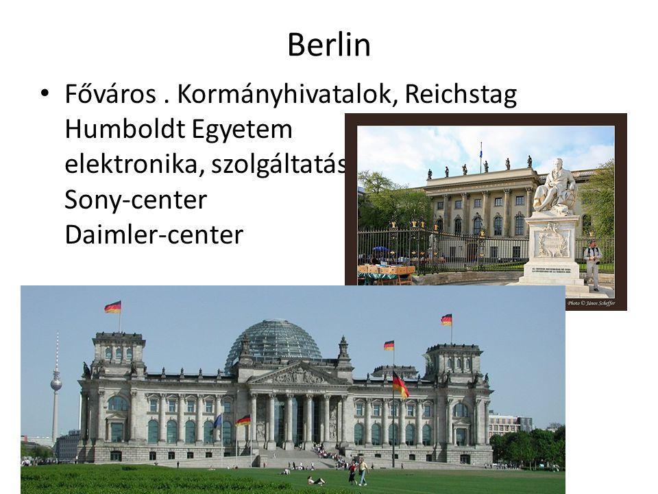 Berlin Főváros. Kormányhivatalok, Reichstag Humboldt Egyetem elektronika, szolgáltatás Sony-center Daimler-center