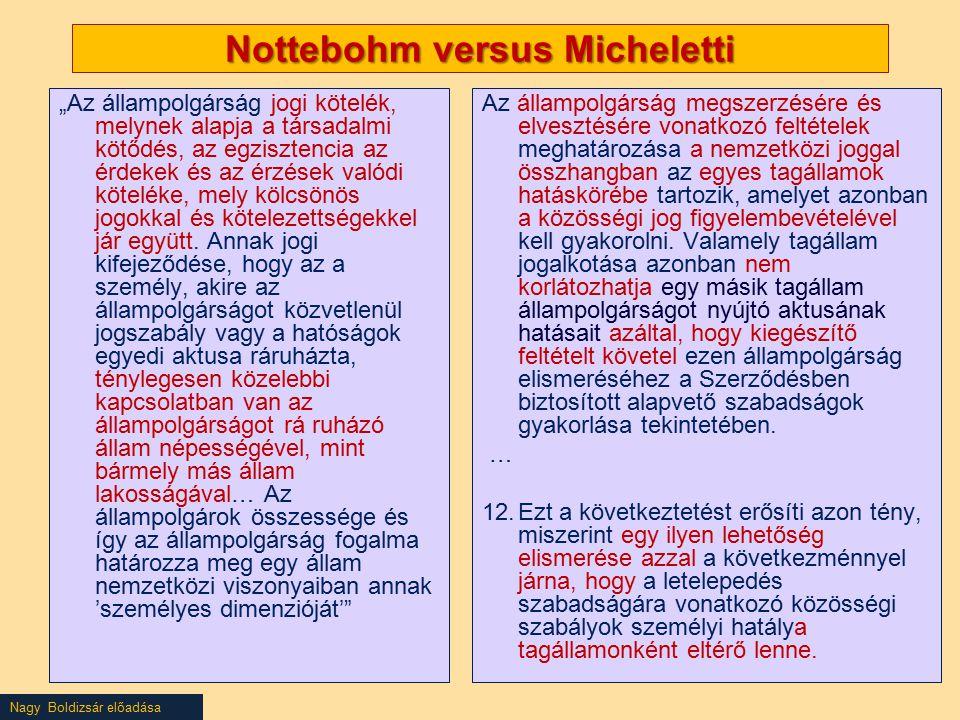 """Nagy Boldizsár előadása Nottebohm versus Micheletti """"Az állampolgárság jogi kötelék, melynek alapja a társadalmi kötődés, az egzisztencia az érdekek és az érzések valódi köteléke, mely kölcsönös jogokkal és kötelezettségekkel jár együtt."""
