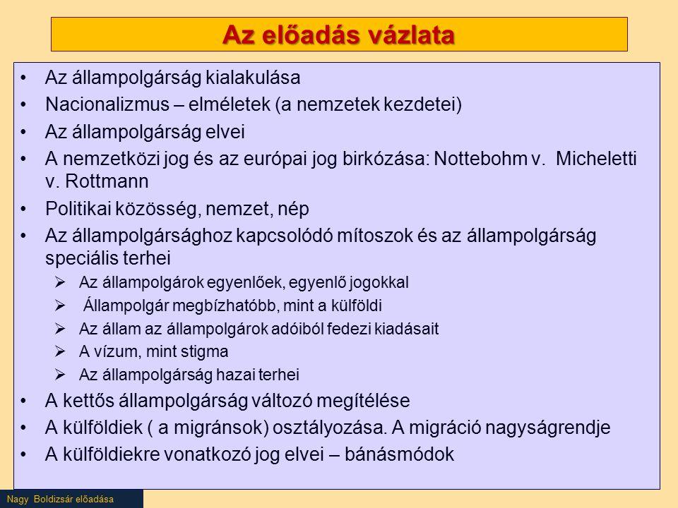 Nagy Boldizsár előadása Az előadás vázlata Az állampolgárság kialakulása Nacionalizmus – elméletek (a nemzetek kezdetei) Az állampolgárság elvei A nemzetközi jog és az európai jog birkózása: Nottebohm v.