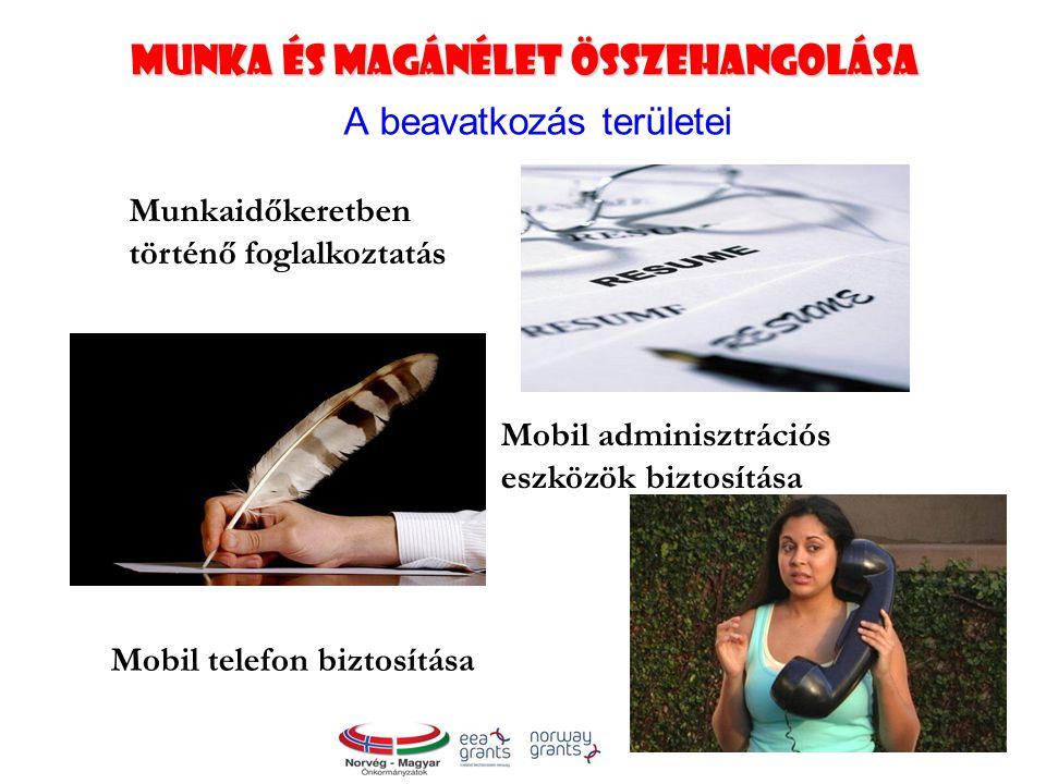 Munka és magánélet összehangolása A beavatkozás területei Munkaidőkeretben történő foglalkoztatás Mobil adminisztrációs eszközök biztosítása Mobil telefon biztosítása