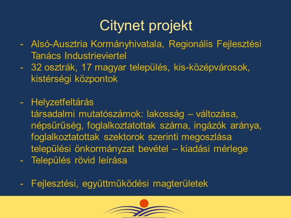 -Alsó-Ausztria Kormányhivatala, Regionális Fejlesztési Tanács Industrieviertel -32 osztrák, 17 magyar település, kis-középvárosok, kistérségi központok -Helyzetfeltárás társadalmi mutatószámok: lakosság – változása, népsűrűség, foglalkoztatottak száma, ingázók aránya, foglalkoztatottak szektorok szerinti megoszlása települési önkormányzat bevétel – kiadási mérlege -Település rövid leírása -Fejlesztési, együttműködési magterületek Citynet projekt