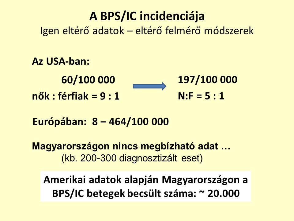 A BPS/IC incidenciája Igen eltérő adatok – eltérő felmérő módszerek 60/100 000 nők : férfiak = 9 : 1 Az USA-ban: Európában: 8 – 464/100 000 Magyarorsz