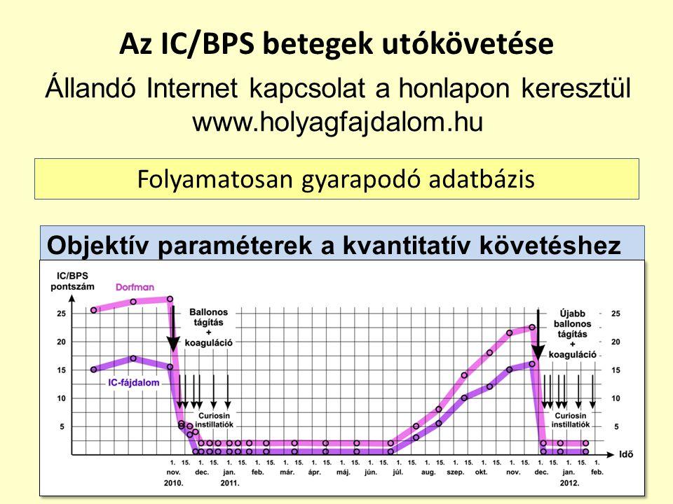 Az IC/BPS betegek utókövetése Állandó Internet kapcsolat a honlapon keresztül www.holyagfajdalom.hu Folyamatosan gyarapodó adatbázis Objektív paraméte