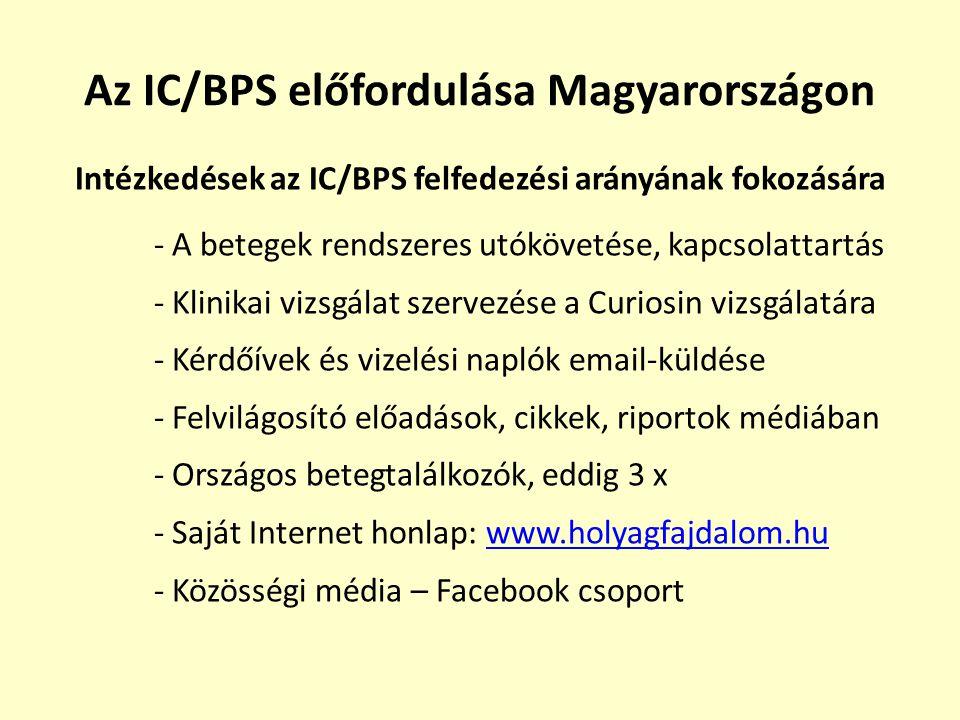 Az IC/BPS előfordulása Magyarországon Intézkedések az IC/BPS felfedezési arányának fokozására - A betegek rendszeres utókövetése, kapcsolattartás - Kl