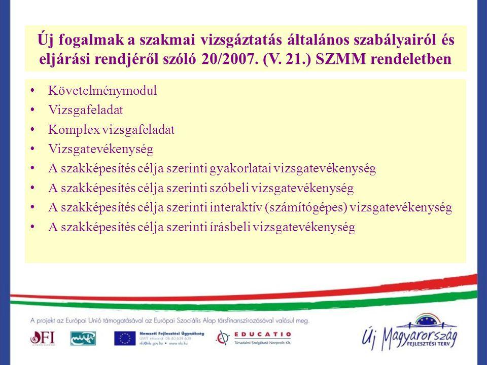 Új fogalmak a szakmai vizsgáztatás általános szabályairól és eljárási rendjéről szóló 20/2007.