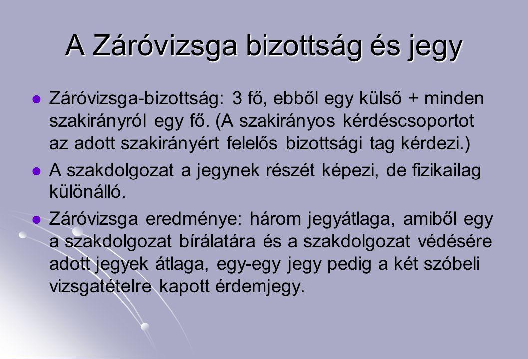 A Záróvizsga bizottság és jegy Záróvizsga-bizottság: 3 fő, ebből egy külső + minden szakirányról egy fő. (A szakirányos kérdéscsoportot az adott szaki