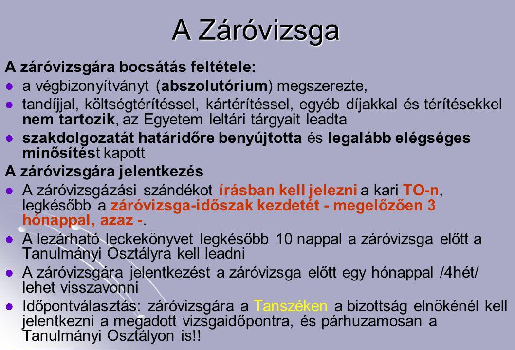 A Záróvizsga A záróvizsgára bocsátás feltétele: a végbizonyítványt (abszolutórium) megszerezte, tandíjjal, költségtérítéssel, kártérítéssel, egyéb díj