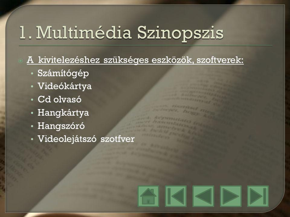  A kivitelezéshez szükséges eszközök, szoftverek: Számítógép Videókártya Cd olvasó Hangkártya Hangszóró Videolejátszó szotfver
