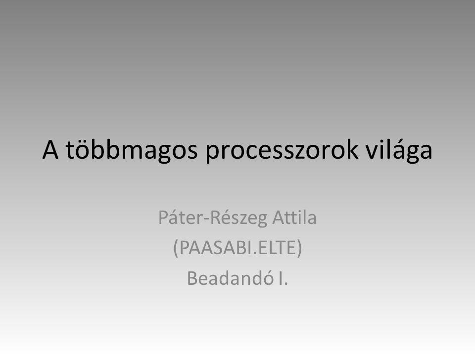 A többmagos processzorok világa Páter-Részeg Attila (PAASABI.ELTE) Beadandó I.