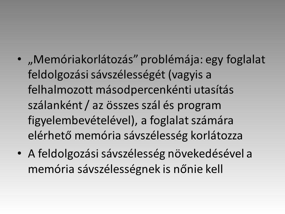 """""""Memóriakorlátozás problémája: egy foglalat feldolgozási sávszélességét (vagyis a felhalmozott másodpercenkénti utasítás szálanként / az összes szál és program figyelembevételével), a foglalat számára elérhető memória sávszélesség korlátozza A feldolgozási sávszélesség növekedésével a memória sávszélességnek is nőnie kell"""