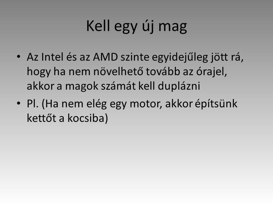 Kell egy új mag Az Intel és az AMD szinte egyidejűleg jött rá, hogy ha nem növelhető tovább az órajel, akkor a magok számát kell duplázni Pl. (Ha nem
