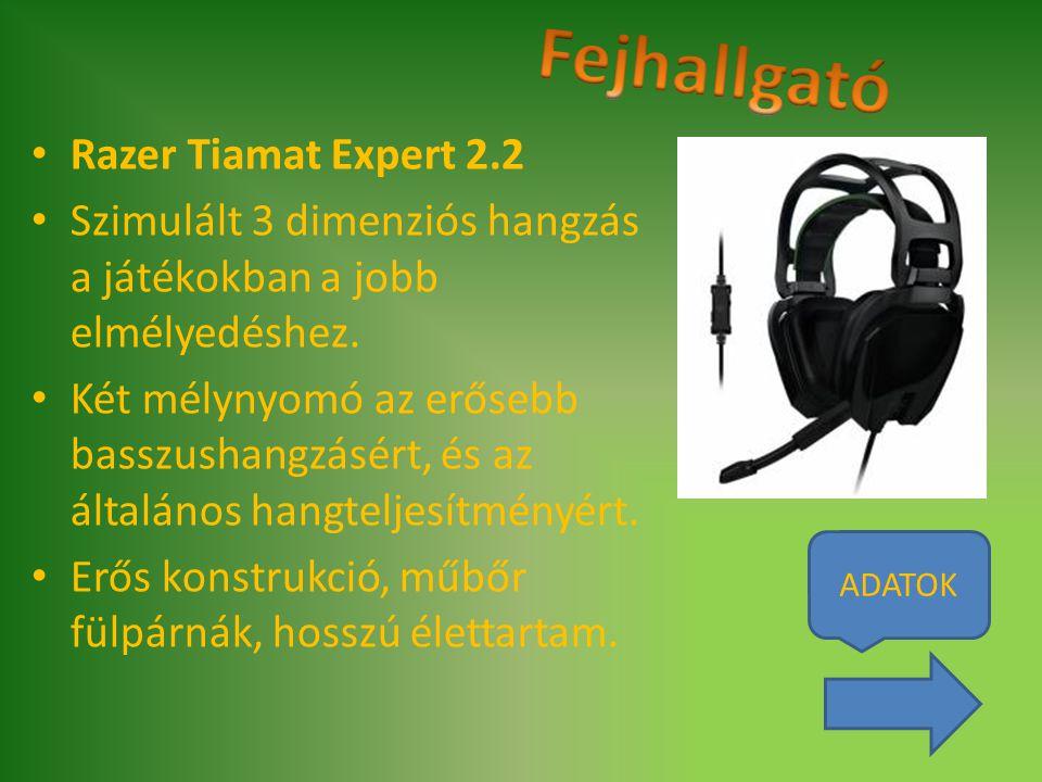 Razer Tiamat Expert 2.2 Szimulált 3 dimenziós hangzás a játékokban a jobb elmélyedéshez. Két mélynyomó az erősebb basszushangzásért, és az általános h